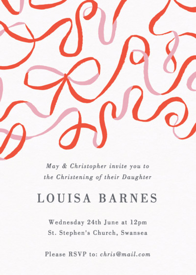 Ribbons | Personalised Christening Invitation