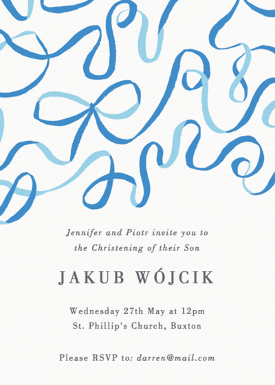 Blue Ribbons | Personalised Christening Invitation