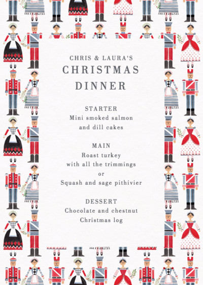 Nutcrackers | Personalised Menu