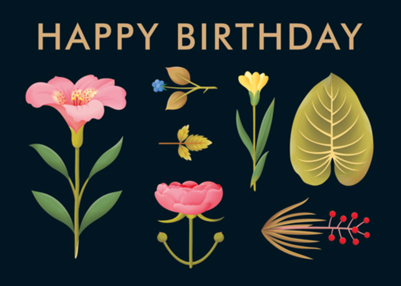 Lush Botany Black | Personalised Birthday Card