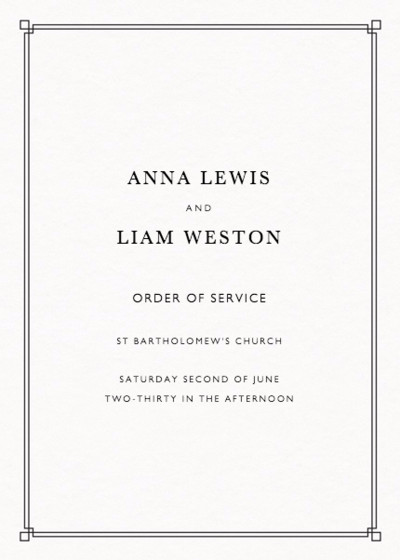Deco Corners | Personalised Order Of Service