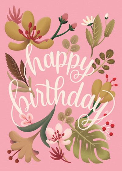 Tropical Plants Pink | Personalised Birthday Card