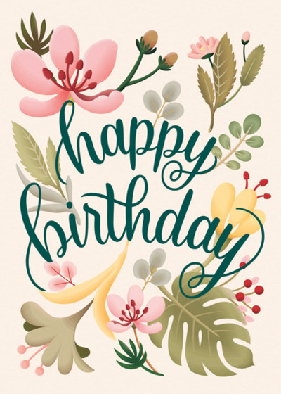 Tropical Plants Birthday Card Papier