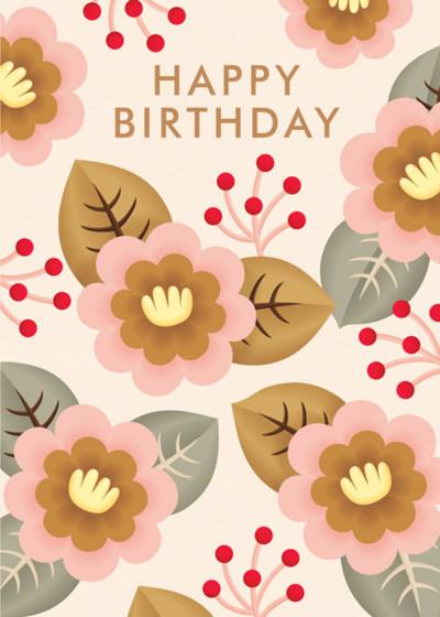Retro Birthday Flowers | Personalised Birthday Card