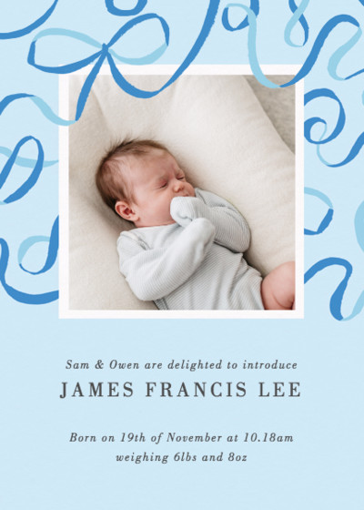 Blue Ribbons   Personalised Birth Announcement
