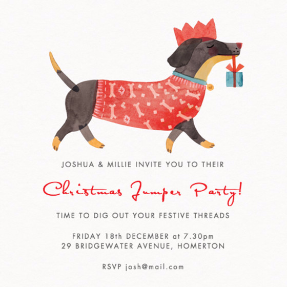 Christmas Dachshund | Personalised Party Invitation