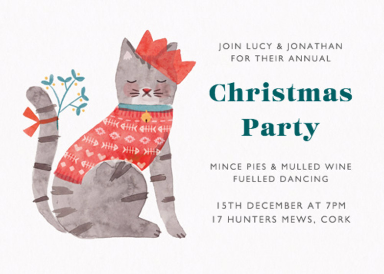 Christmas Cat | Personalised Party Invitation