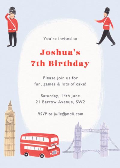 London Party | Personalised Party Invitation