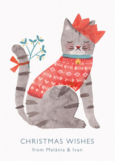 Christmas Cat | Personalised Christmas Card Set