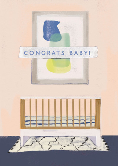 Baby Crib  | Personalised Congratulations Card