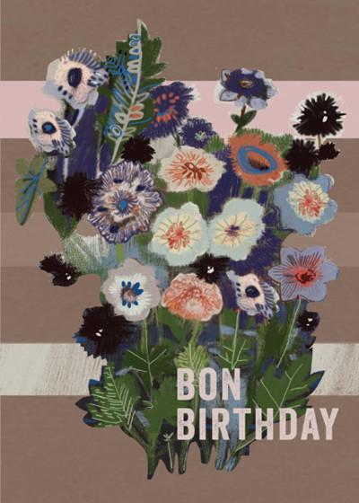 Bon Birthday Flowers | Personalised Birthday Card