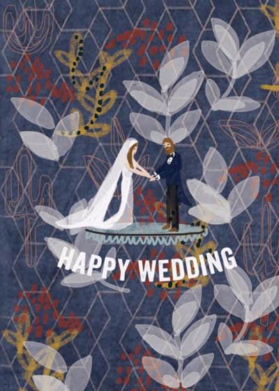 Folk Pattern Wedding  | Personalised Congratulations Card