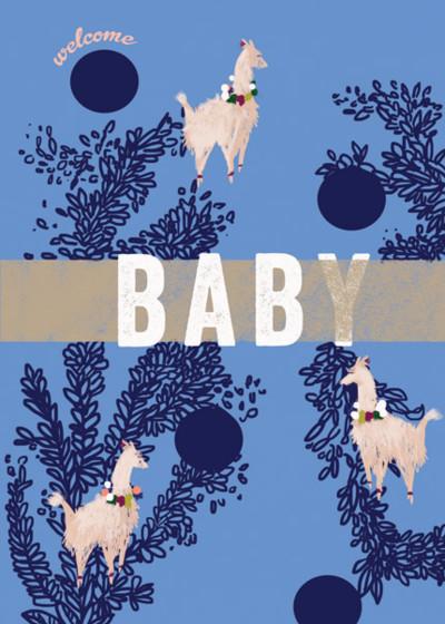 Llama Welcome Baby  | Personalised Congratulations Card