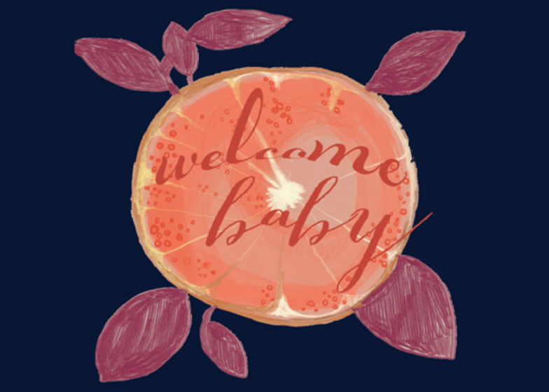 Welcome Baby Grapefruit  | Personalised Congratulations Card
