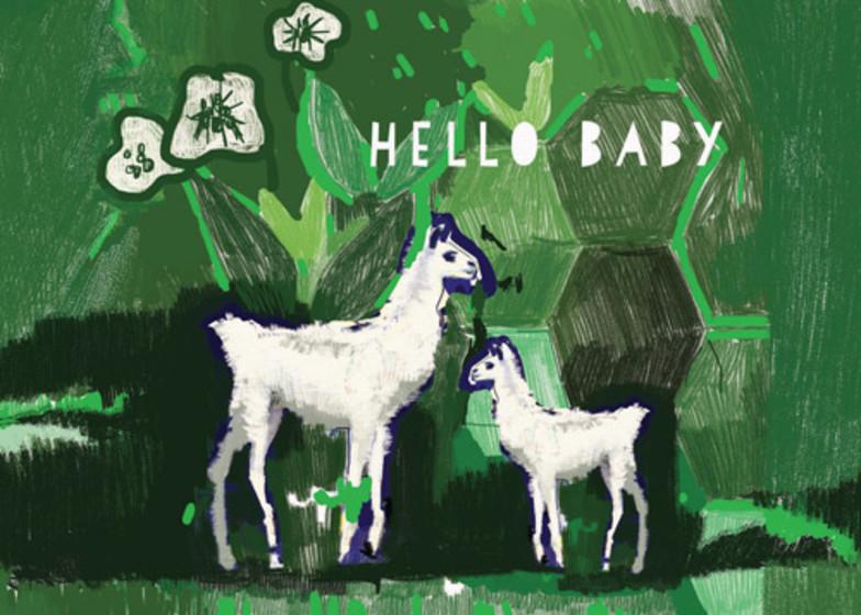 Baby Llama  | Personalised Congratulations Card