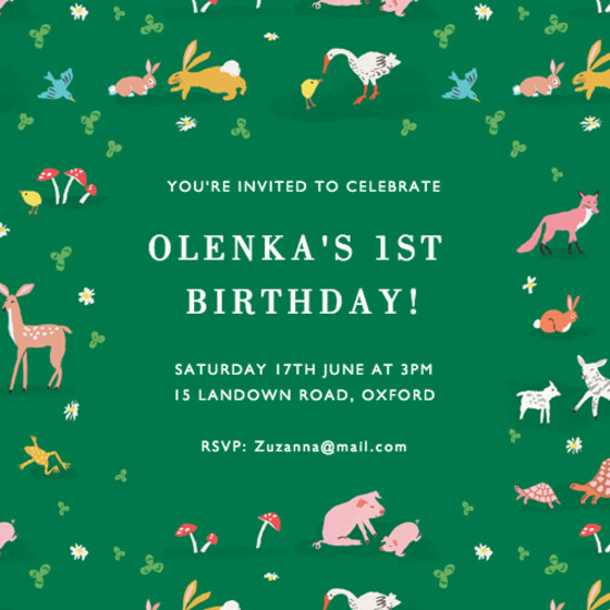Tiny Animals | Personalised Party Invitation