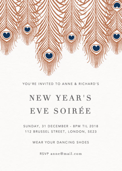 Peacock Feathers Bronze | Personalised Party Invitation