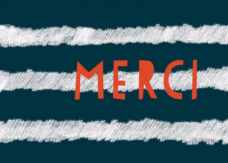 Striped Merci    Personalised Thank You Card