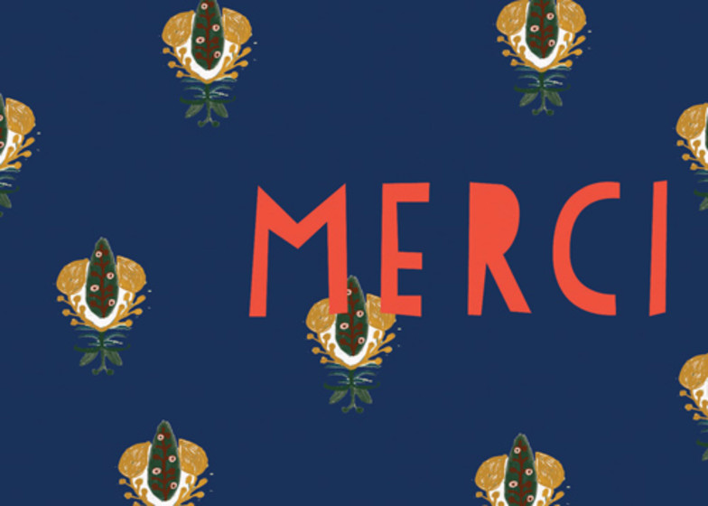 Calico Navy Merci  | Personalised Thank You Card