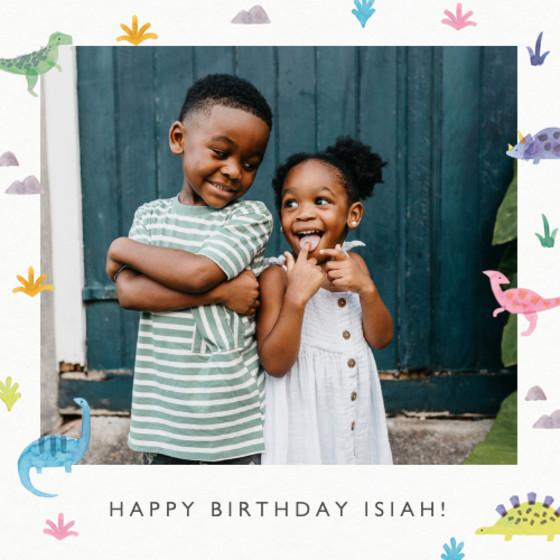 Bright Dinosaurs   Personalised Birthday Card