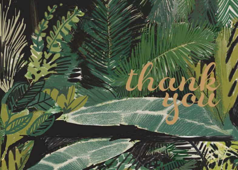 Green Palms   Personalised Thank You Card