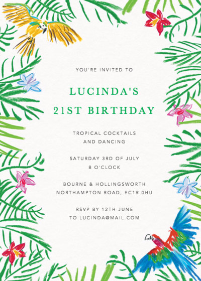 Tropical Parrots | Personalised Party Invitation
