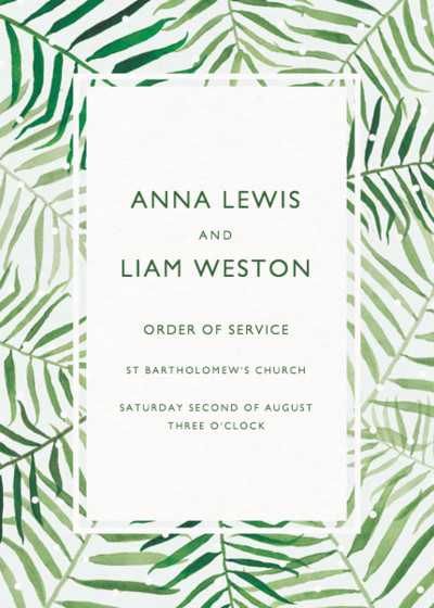Palms | Personalised Order Of Service