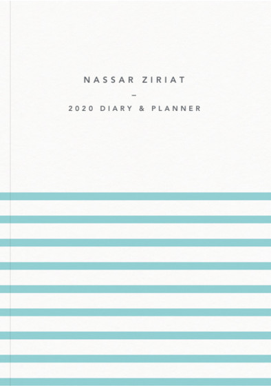 Demi Aqua Stripe | Personalised 2018 Diary