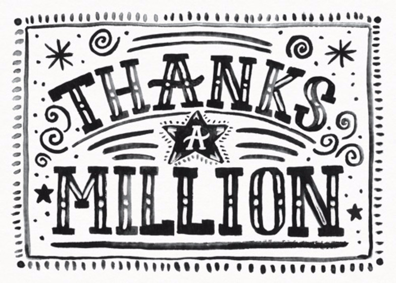 Thanks A Million | Personalised Thank You Card
