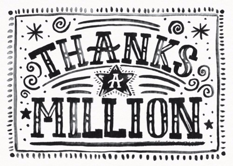 Thanks A Million | Personalised Thank You Card Set