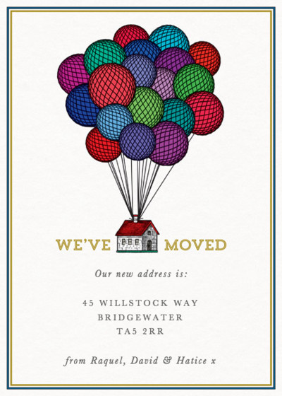 House & Balloons | Personalised Moving Announcement