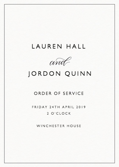 And Calligraphy | Personalised Order Of Service