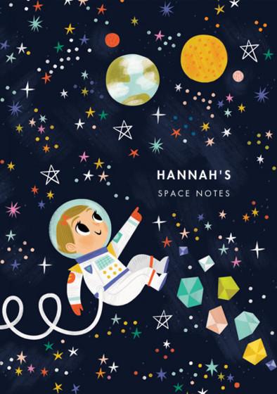 Astronaut Girl III   Personalised Lined Notebook