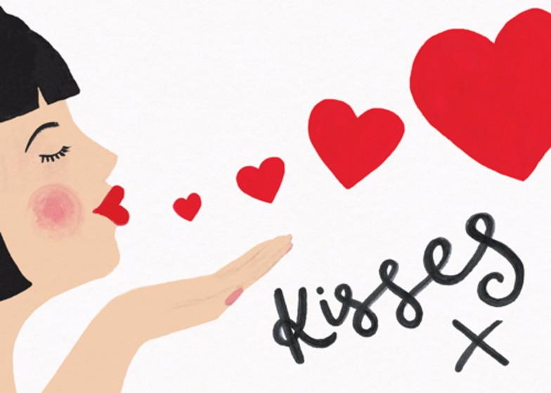 Kisses   Personalised Greeting Card