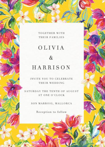 Bougainvillea Bloom | Personalised Wedding Invitation