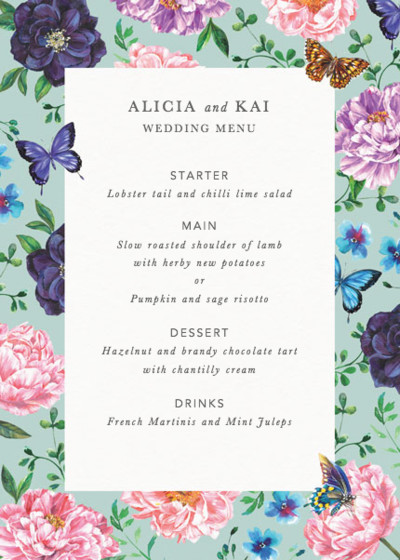 Rosey Posey | Personalised Menu