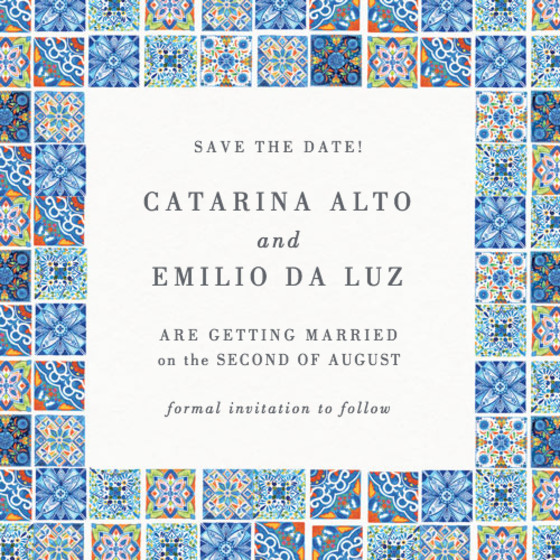 Deia Fiesta Tiles | Personalised Save The Date