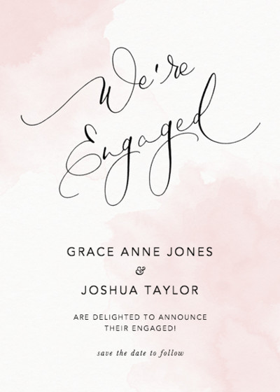 We're Engaged Blush | Personalised Announcement Card