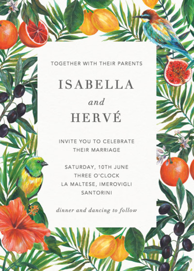 Mediterranean Medley | Personalised Wedding Invitation