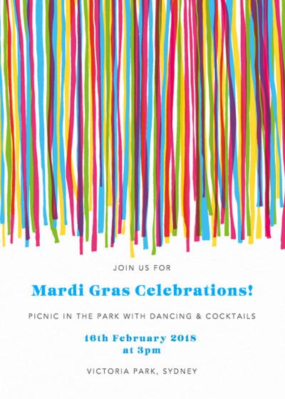 Mardi Gras Streamers   Personalised Party Invitation