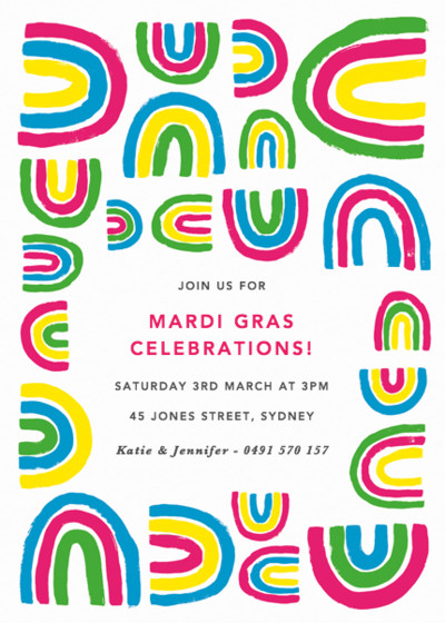 Mardi Gras Rainbows   Personalised Party Invitation
