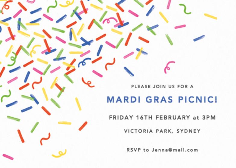 Mardi Gras Confetti   Personalised Party Invitation