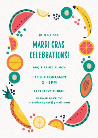Mardi Gras Fruit Salad   Personalised Party Invitation