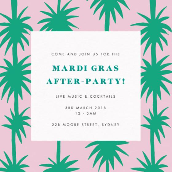 Mardi Gras Palms   Personalised Party Invitation