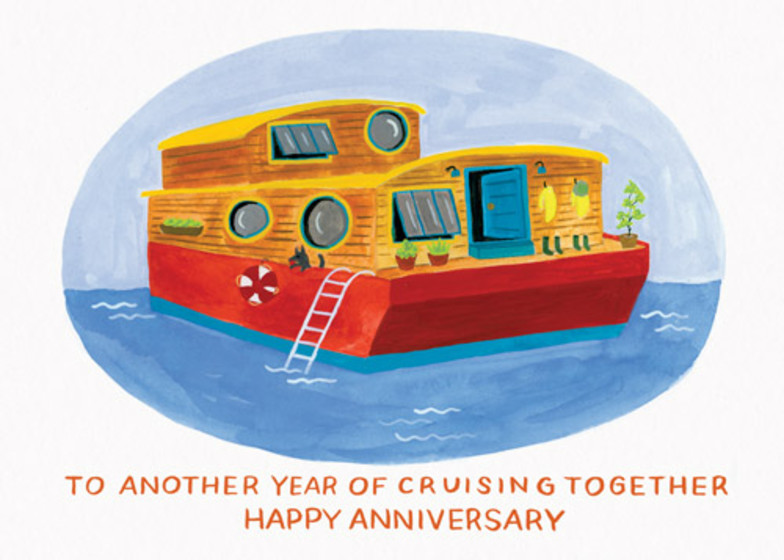 Houseboat Anniversary | Personalised Greeting Card
