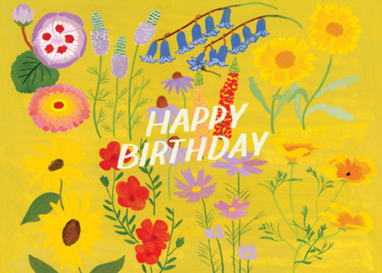 Floral Birthday Yellow | Personalised Birthday Card