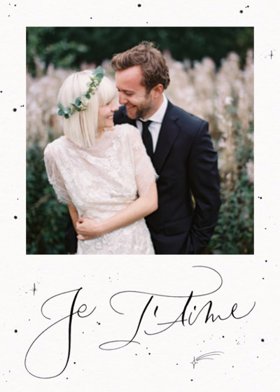 Je T'aime Starry Border Photo | Personalised Greeting Card