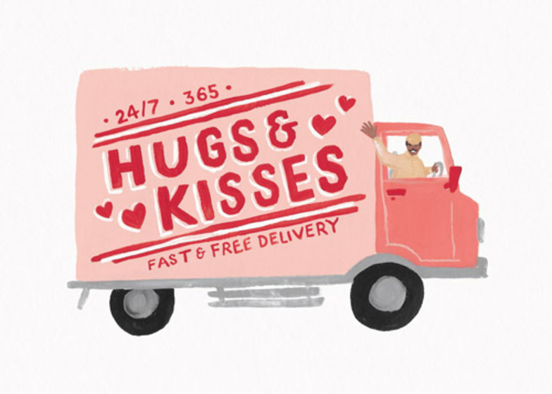 Hugs & Kisses | Personalised Greeting Card