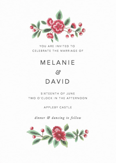 Chinese Pink Florals | Personalised Wedding Invitation