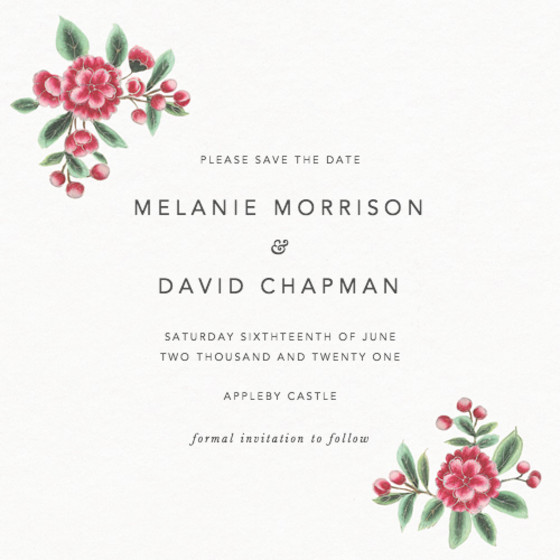 Chinese Pink Florals | Personalised Save The Date